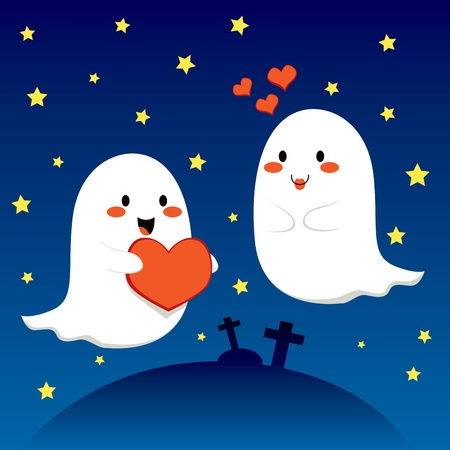 cute ghost: Ghost couple in love at the cemetery on Halloween night Illustration