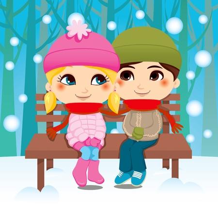 Pareja joven sentado en una banca del Parque compartir bufanda en invierno