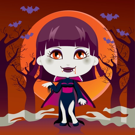 cartoon vampire: Cute little girl with Lady Dracula vampire costume for Halloween night party