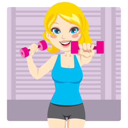 Beautiful and fit blond girl exercising with two dumbbell weights on her hands Illustration