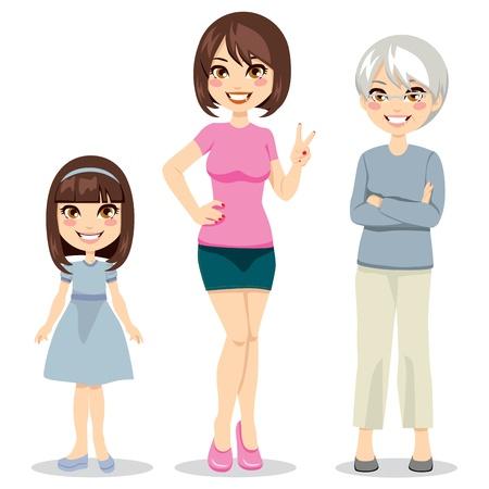 abuela: Ilustración de tres edades de las mujeres de niño a mayor