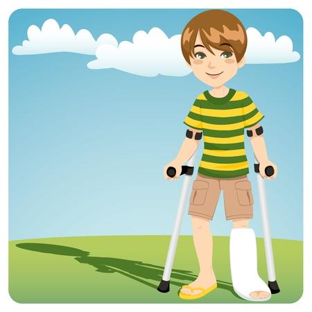 Jonge jongen met gegoten gebroken enkel wandelen buiten met krukken Vector Illustratie