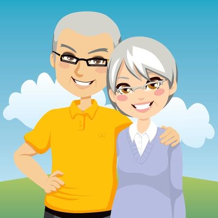 Illustrazione ritratto della bella coppia allegra in pensione insieme