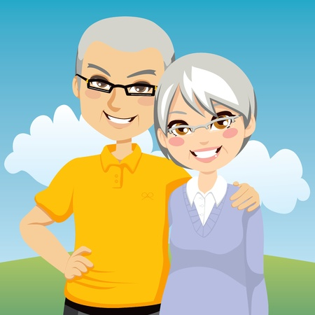 older couples: Portrait illustration of lovely cheerful retired couple together
