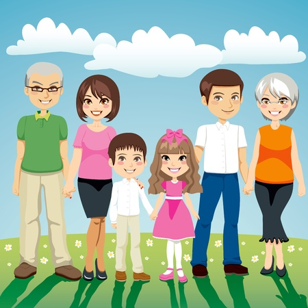 Portrait of six people extended family standing outdoors holding hands Illustration