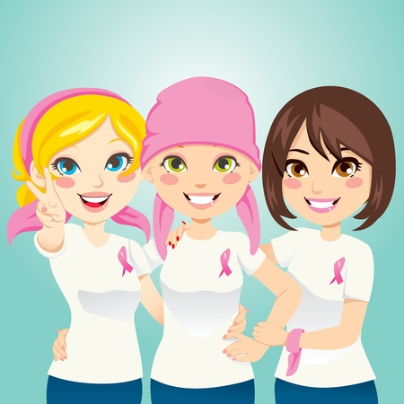 Women supporting and helping a friend fight breast cancer after chemotherapy Stock Vector - 11012355