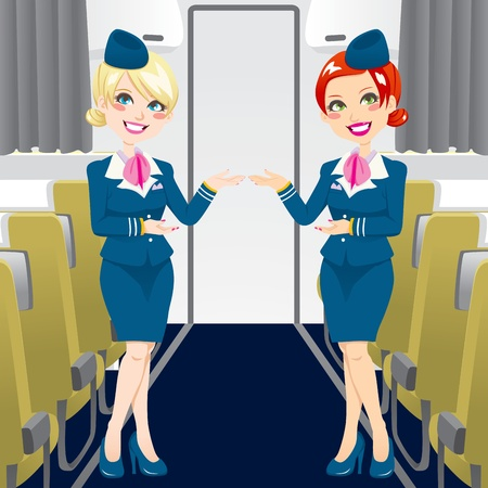 stewardess: Two beautiful stewardess in blue uniforms inside an airliner passenger cabin