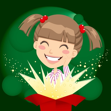 Little girl opening a Christmas or birthday present box with a wonderful surprise Vector