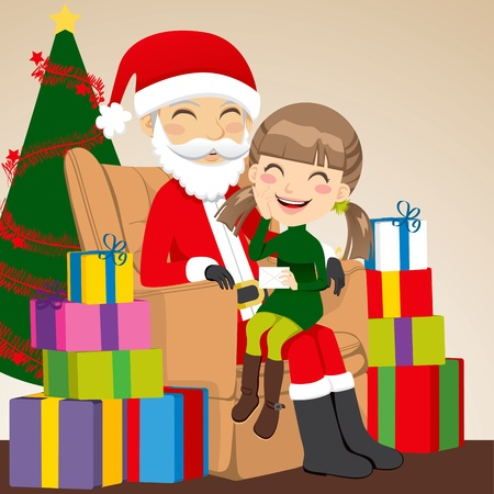 Little girl giving a letter to Santa Claus sitting on his lap Vector