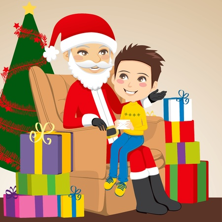Little boy giving a letter to Santa Claus sitting on his lap Vector