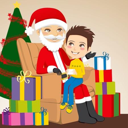 Petit garçon donnant une lettre au Père Noël assis sur ses genoux