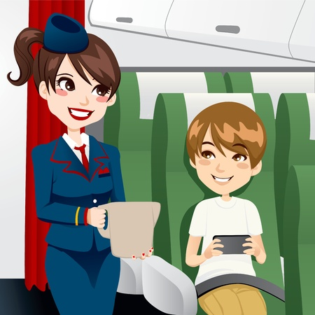 passenger: Beautiful brunette stewardess serving water to a young kid traveling and playing video games while on board