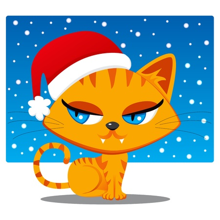 Cute orange cat with Santa Claus hat costume Vector