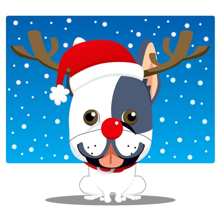Cute french bulldog with Rudolph red nose reindeer costume and Santa Claus hat Illustration