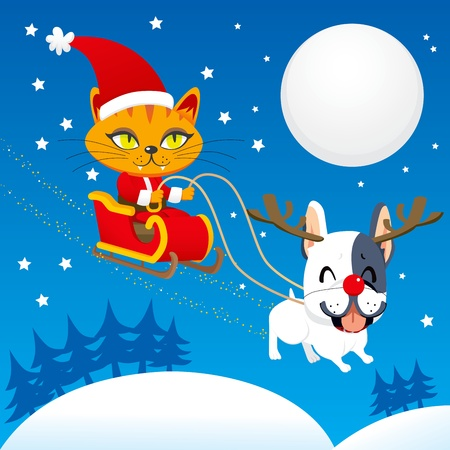 snow sled: Santa Claus cat riding his magical flying sleigh with Rudolph the red nosed french bulldog reindeer