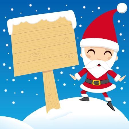 wooden post: Santa Claus standing next to a blank wooden sign post