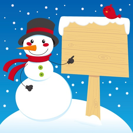 Snowman pointing to a blank wooden sign post Vector