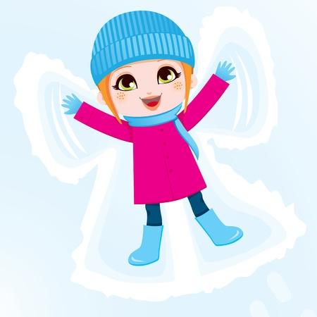 girl lying down: Ni�a feliz acostado en el suelo haciendo un �ngel en la nieve Vectores