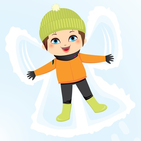 Happy little boy lying down on the ground making a snow angel Vector