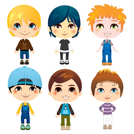Six cute little boys from diverse ethnic groups with different clothing styles Vector