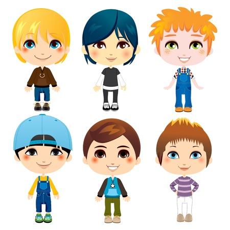 Six petits garçons mignons de divers groupes ethniques avec des styles vestimentaires différents