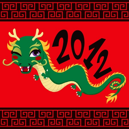 Cute green dragon greeting 2012 chinese new year celebration on red background Vector