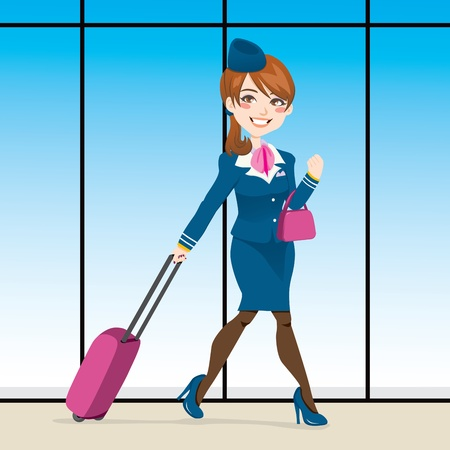 stewardess: Beautiful stewardess walking through airport terminal carrying a hand purse and pull rod case
