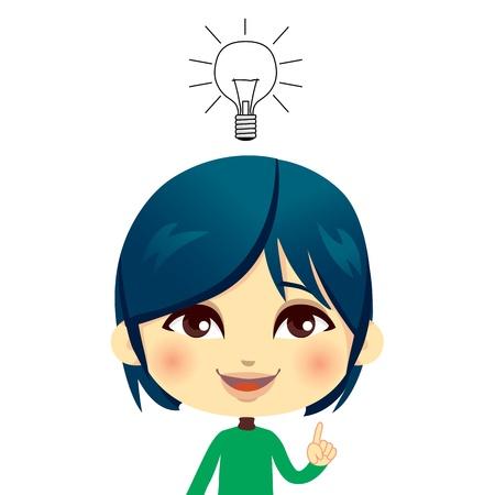 personne seule: Cute kid avoir une id�e avec le concept ampoule et d'expression geste