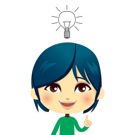 Cute kid having an idea with lightbulb concept and gesture expression Vector