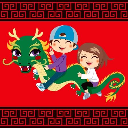 ni�as chinas: Dos ni�os se divierten montando chino nuevo amigo drag�n a�o