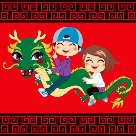 oriental girl: Two children having fun riding chinese new year dragon friend Illustration
