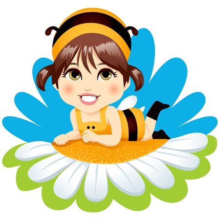Cute little baby girl with bee costume resting lying down on top of a white daisy smiling happy Vector