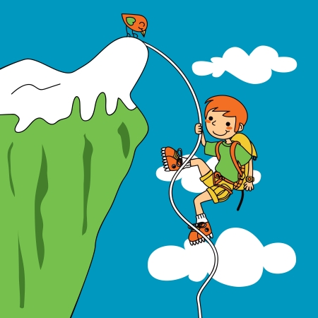 climbing sport: Funny illustration of young climber facing trouble climbing a mountain cliff
