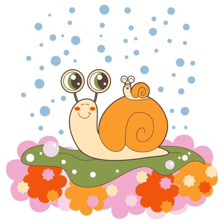 caracol: Hermosa al aire libre de caracoles de la familia arrastrándose sobre una hoja de lechuga en la lluvia Vectores
