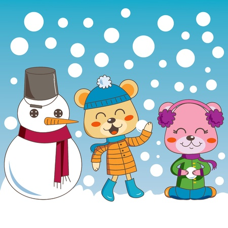 Bear siblings having fun playing outdoors with cute snowman friend on winter Vector