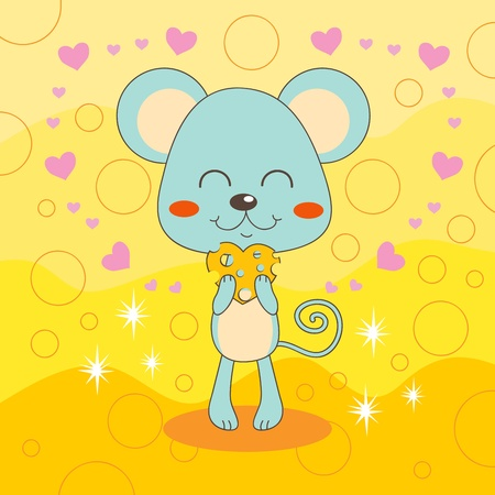 Adorable happy mouse loves heart shaped cheese Vector
