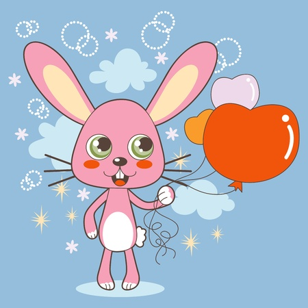 Cute bunny holding heart shaped balloons on Valentine Day Vector