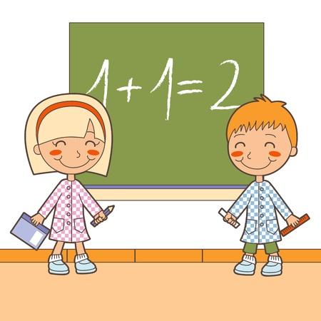 Jongen en meisje in de klas les wiskunde aan het leren oplossen van operaties