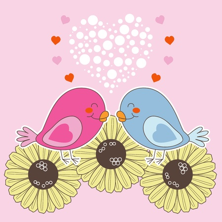 two hearts together: Bird couple in love over flowers on Valentine Day Holiday Illustration