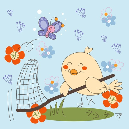 Bird trying to catch elusive Butterfly on flower garden Vector