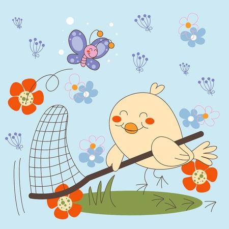 butterfly net: Bird trying to catch elusive Butterfly on flower garden