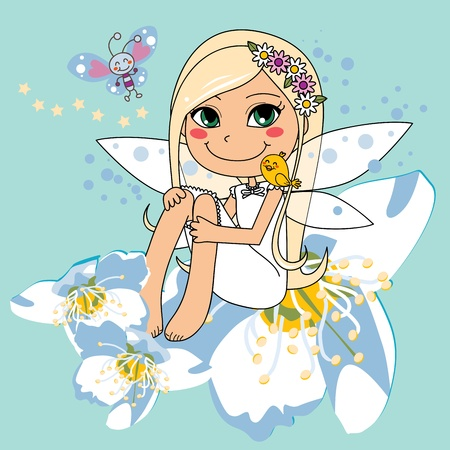 whimsical: Sweet fairy sitting on a white pear blossom with a bird on her shoulder and a butterfly flying Illustration