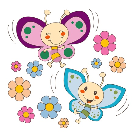 cartoon bug: Pink and blue baby butterfy couple flying between spring flowers in love