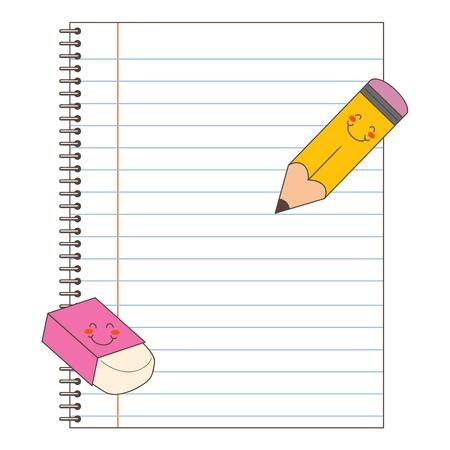 Nuevo portátil con la limpieza páginas rayadas listo para escribir con lápiz y goma de borrar Ilustración de vector