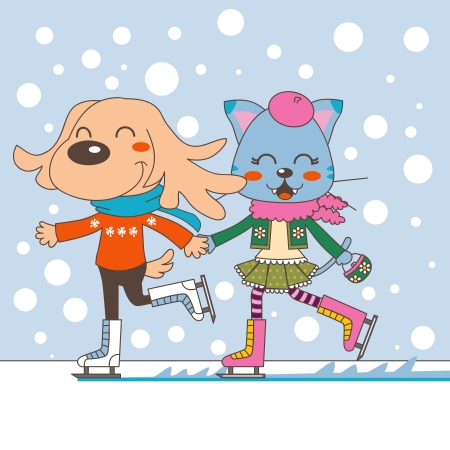 Dog and cat couple holding hands ice skating with warm winter clothing Vector