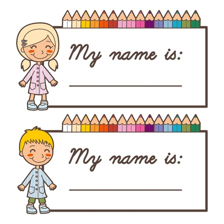 Set of two back to school name tag stickers for boy and girl with copy space