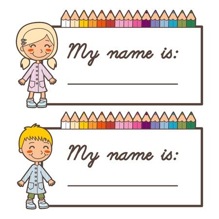 Set van twee terug naar school naamplaatje stickers voor jongen en meisje met een kopie ruimte