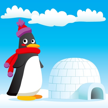 Happy penguin standing in front of his new igloo home