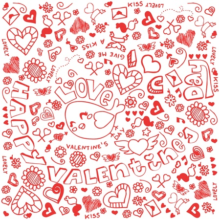 Lovely Valentine holiday hand drawn doodle design elements Vector