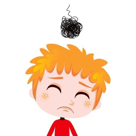 슬픔과 우울증을 표현하는 걱정이 아이의 초상화 그림